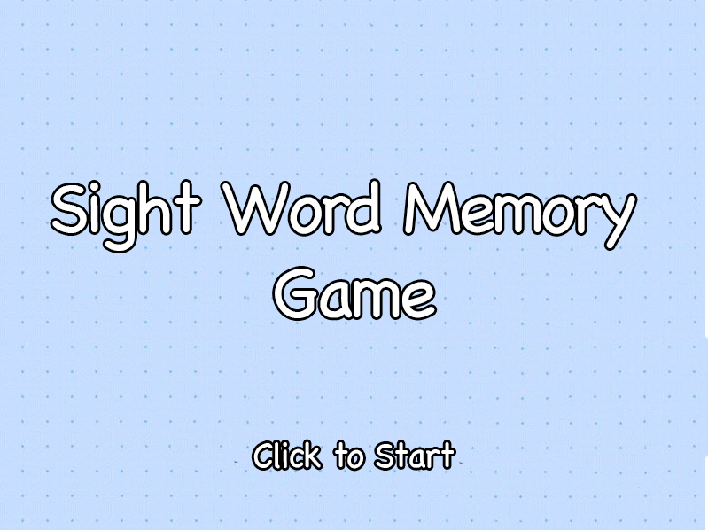 Sight Word Memory Game